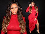 Beyonce is flawless in body-hugging red sequinned maxi dress and ombre curls in new Instagram snaps