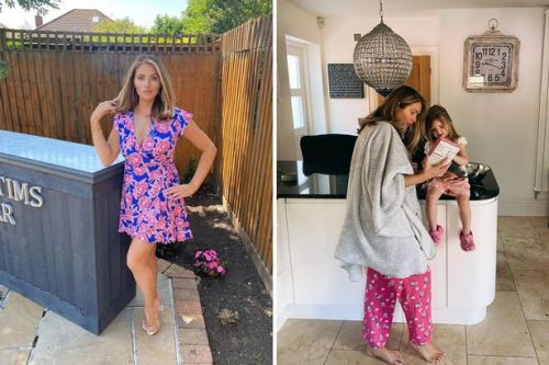 Inside Amy Childs home as she sets up amazing garden bar