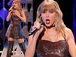 Taylor Swift sparkles in a short dress and thigh-high boots at iHeartRadio's Jingle Ball