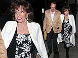 Joan Collins, 86, and husband Percy Gibson, 54, enjoy a romantic dinner