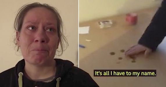 Mum breaks down as she puts down 14p on table and says 'that's all our money'