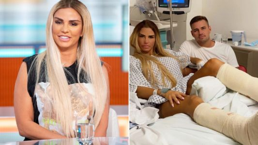 Katie Price shares hospital snap with boyfriend Carl Woods after gruelling six-hour surgery on broken feet