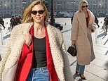 Karlie Kloss wraps up in cream teddy coat as she steps out during Paris Haute Couture Fashion Week