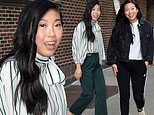 Awkwafina is quirky-chic in two trendy sets of threads