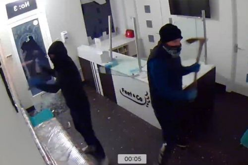 CCTV shows masked men with pick axes smash up Edinburgh clinic during night