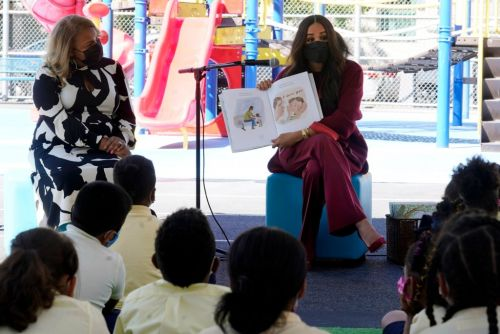 Meghan Markle reads her children's book on visit to Harlem school with Prince Harry