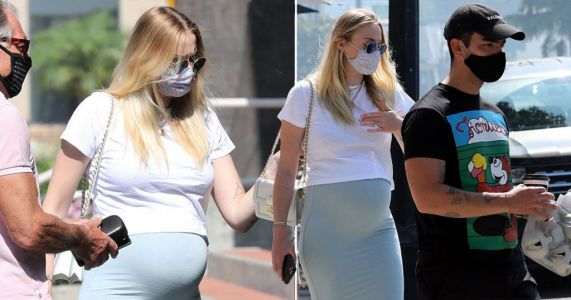 Sophie Turner covers bump as she heads out for breakfast in LA with husband Joe Jonas and her parents
