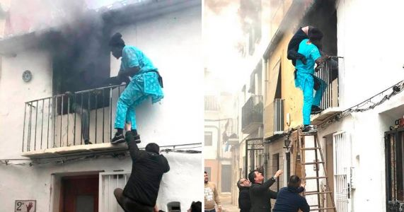 Street seller scales burning building to rescue disabled man from fire