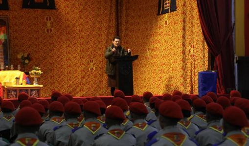 King of Bhutan receives participants of the 13th Scouts Leadership Training