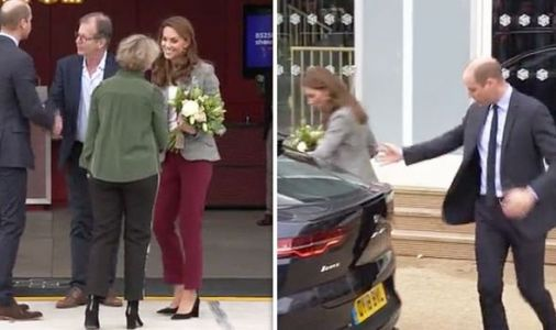 Careful Kate! Moment Duchess of Cambridge stumbles as Prince William steps up to help