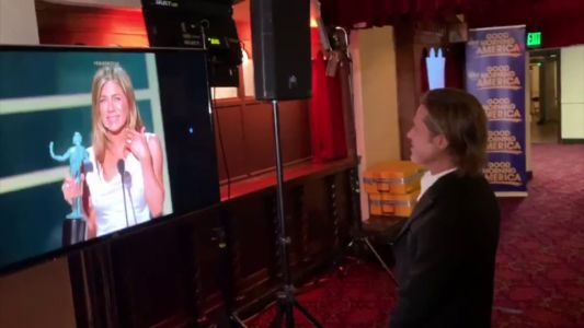 Brad Pitt gasps 'wow' as he watches ex wife Jennifer Aniston's SAG Awards speech backstage