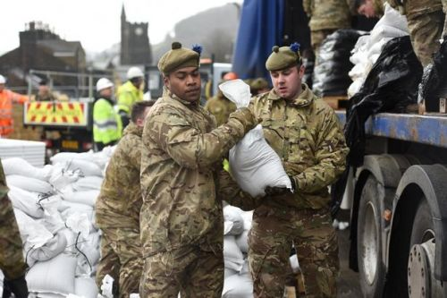 Scottish soldiers battle Storm Dennis weather chaos in Yorkshire