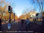 Cycling yobs perform wheelies riding through central London