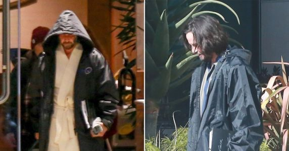 Keanu Reeves clutches onto his script and wears a robe while stepping out on set for Matrix 4 in San Francisco