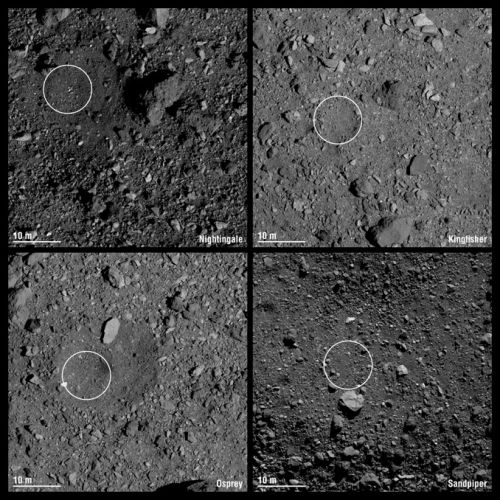 OSIRIS-REx candidate sample collection sites identified
