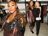 Serena Williams dazzles in sequined jumpsuit and jacket at her own Serena fashion pop-up in Miami
