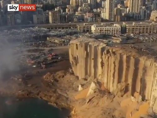 Aerial footage captures scale of destruction from Beirut explosion - video