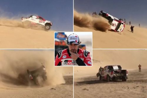 Fernando Alonso escapes horror crash after rolling car twice during Dakar Rally