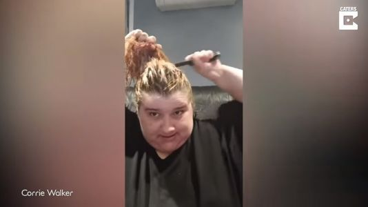 Watch in horror as this woman gives herself a lockdown haircut with a bread knife