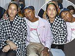 Pharrell Williams and wife Helen Lasichanh take time away from their triplets for Chanel PFW show