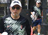 Celebrity Apprentice host Lord Alan Sugar, 73, looks sprightly after tennis session in Sydney
