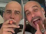 Pep Guardiola caught on video smoking large cigar and singing along to Oasis at Man City title party