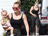 Hilary Duff looks stylish in a vest top and boho maxi-skirt as she heads to a spa with baby Banks