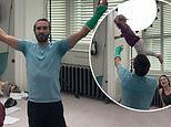 Joe Wicks plays catch with daughterIndie, 2, and dances withwife Rosie after PE class