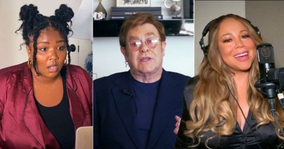 Elton John hosts coronavirus benefit gig from his living room and is joined by Lizzo and Mariah Carey