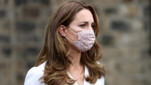 The Duchess of Cambridge is spotted wearing a face mask for the first time