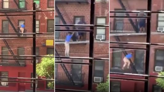 Moment furious woman falls from high NYC fire escape while attacking man through window