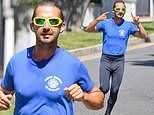 Shia LaBeouf looks amped up as he runs on the release day for his new movie The Tax Collector