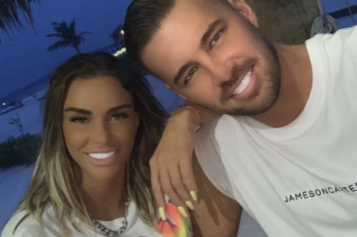 Katie Price leaves fans blushing as they spot Carl Woods' huge bulge in snap