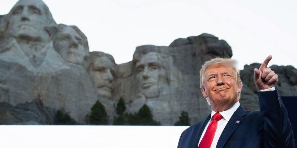 Trump denied asking to have his face carved on Mount Rushmore, but said it 'sounds like a good idea to me!'