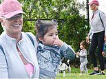 Brigitte Nielsen, 56, enjoys a park outing with her adorable daughter Frida, one, in Studio City