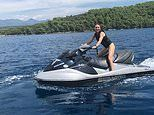 Geri Horner shows off her thrill-seeking nature as she hops onto a jet-ski in Croatia