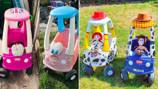 Dad gives second-hand Cozy Coupe cars Toy Story makeover costing just over £20 each