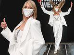 Heidi Klum dazzles in a white trouser suit at the About You Fashion Week in Berlin