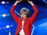 BGT EXCLUSIVE: Theresa May-lookalike STRIPS while brandishing EU and UK flags