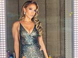 Jennifer Lopez changes into a busty sparkling cocktail dress for Oscars after-party