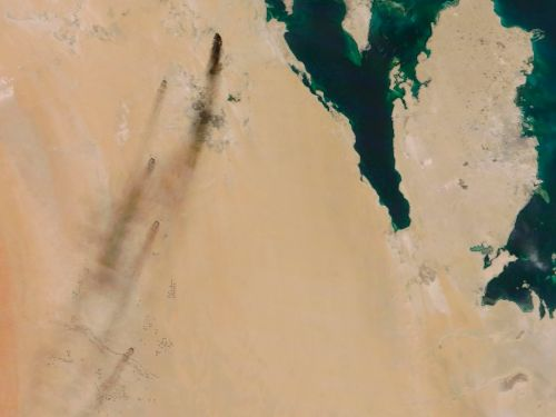 The smoke from the fires caused by drone attacks on two Saudi oil facilities could be seen from space