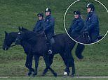 Prince Andrew is seen on an early morning horse ride in Windsor