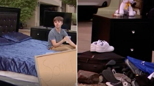Parents give away 14 year-old's bed, shoes and TV to punish him for joyriding