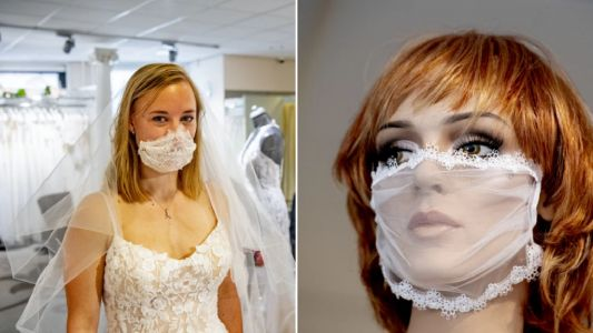 Bridal shop creates lace face masks for weddings - but they probably aren't very effective