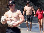 Matt Damon shows toned physique as he soaks up the sunshine on the beach in Malibu with his family