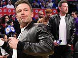 Ben Affleck among celebs at Clippers basketball game in LA as he promotes his new film The Way Back