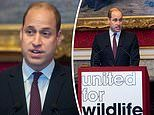 Prince William gives a speech during the meeting of the United for Wildlife Taskforces