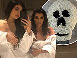 Kourtney Kardashian is bowled over as she's gifted a massive floral skull display from sister Kylie