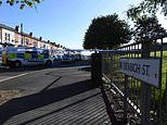Two men are shot and another stabbed by a masked gang near a children's play area