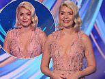 Holly Willoughby exudes glamour in a pink sheer dress for Dancing On Ice